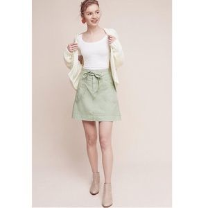 Anthropologie Pilcro Washed Chino Green Tie Skirt